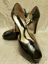 NINE WEST Women's D'Orsay Black Patent Leather T-Strap Peep Toe Pumps Si... - $41.03