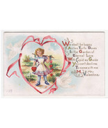 Happy As Two Turtle Doves Girl Valentine's Day 1910c postcard - $4.90