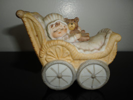 Vintage Porcelain Victorian Baby with Bear in Carriage Hand Painted Figu... - $85.82