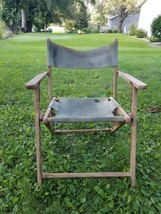 vintage wooden fold up beach chair - $46.75