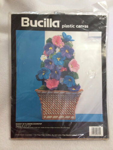 Primary image for NEW Bucilla Plastic Canvas Kit Basket Of Flowers Doorstop 1994 Spring Vtg 6135