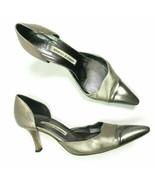 Manolo Blahnik Silver Pointed Toe Kitten Heel Pumps size 39.5   - $79.20