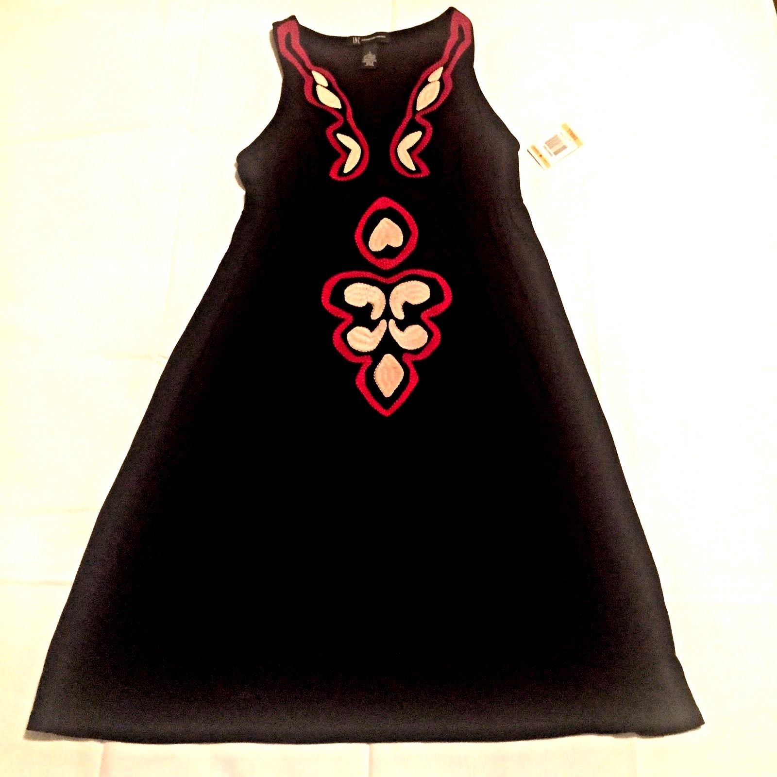 International Concepts INC Romantique Embroidered Small Shift Dress Black womens