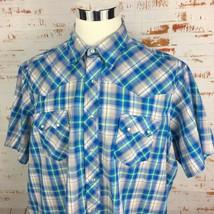 Wrangler Mens Western Pearl Snap Shirt 2XL Big 2X XXL Short Sleeve Blue - $19.54