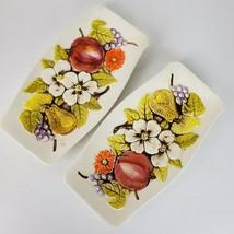 Vintage Lefton Ceramic Raised Fruit Flowers Leaves Japan Tray Veggies Di... - $43.37