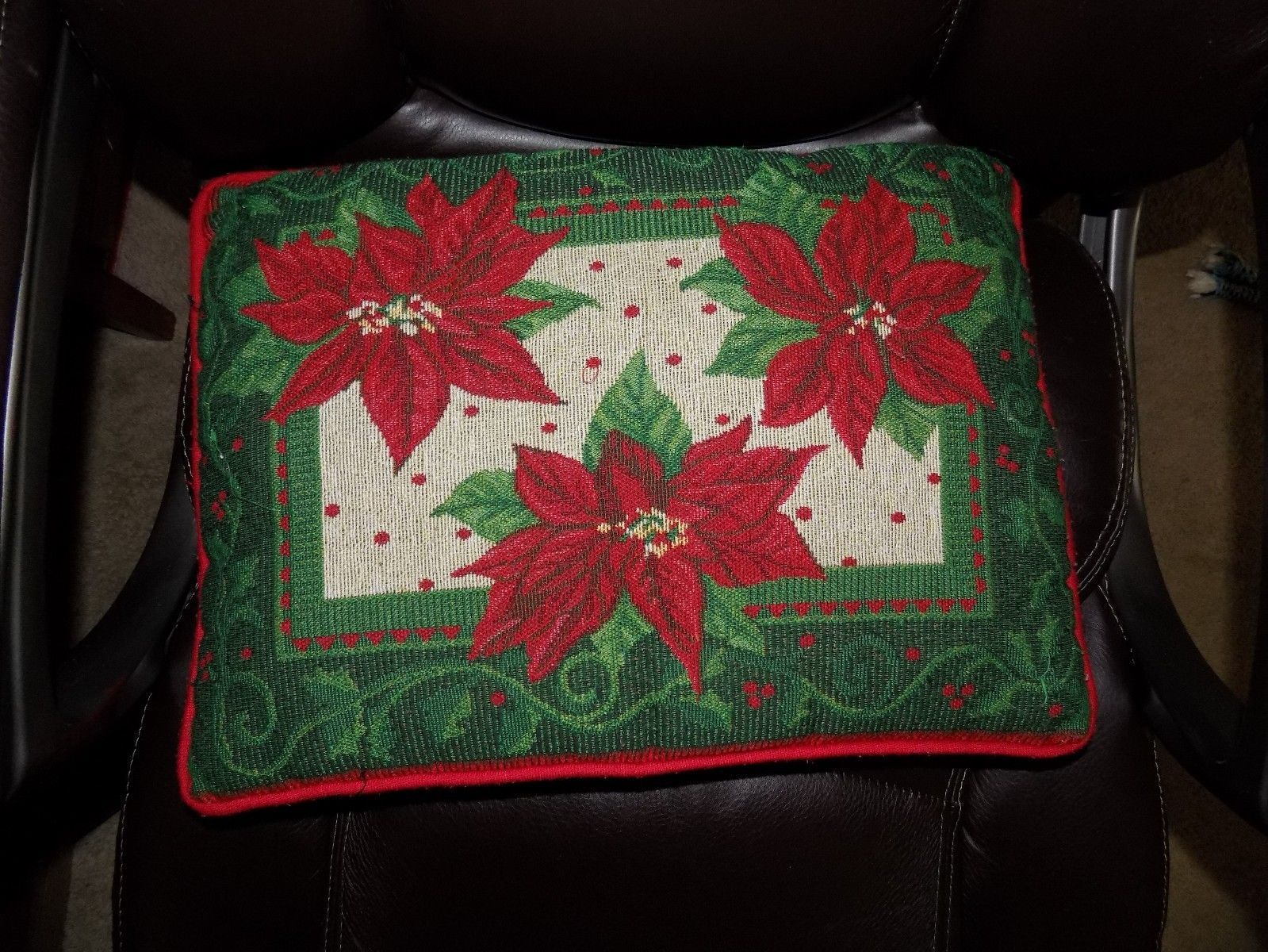 Primary image for Xmas Merry Christmas Poinsettia Pillow EUC