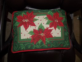 Xmas Merry Christmas Poinsettia Pillow EUC - $15.80