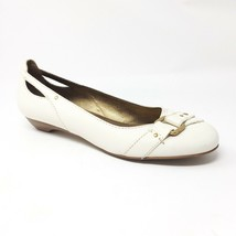 Franco Sarto Size 9.5 M Ivory Cream Leather Flats Shoes Gold Buckle And Cutouts - $21.63