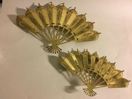 Home Interiors Gold Tone Decorative Fan Wall Hangings VTG Rustic Wear 13... - $17.77