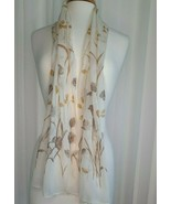 """Italian made SHEER SCARF with Gold Thread accent ~  Appox. 60"""" x 15""""   ... - $49.49"""