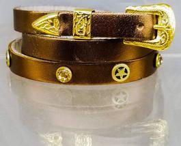 HATBAND Metallic COPPER Genuine Leather with Gold Rhinestone Crystals & ... - $26.99