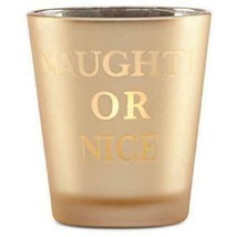 """Lenox Holiday 4"""" Gold Naughty or Nice Glass Votive Candle Light New in Box image 2"""