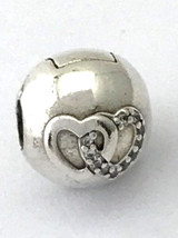 Authentic Pandora Heart Bond Clip Lock Bead 792150CZ New - $42.74