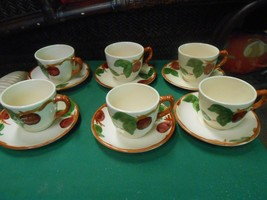 """-Magnificent Franciscan """"Apple"""" Pattern ...Set Of 6 Cups & Saucers - $32.26"""