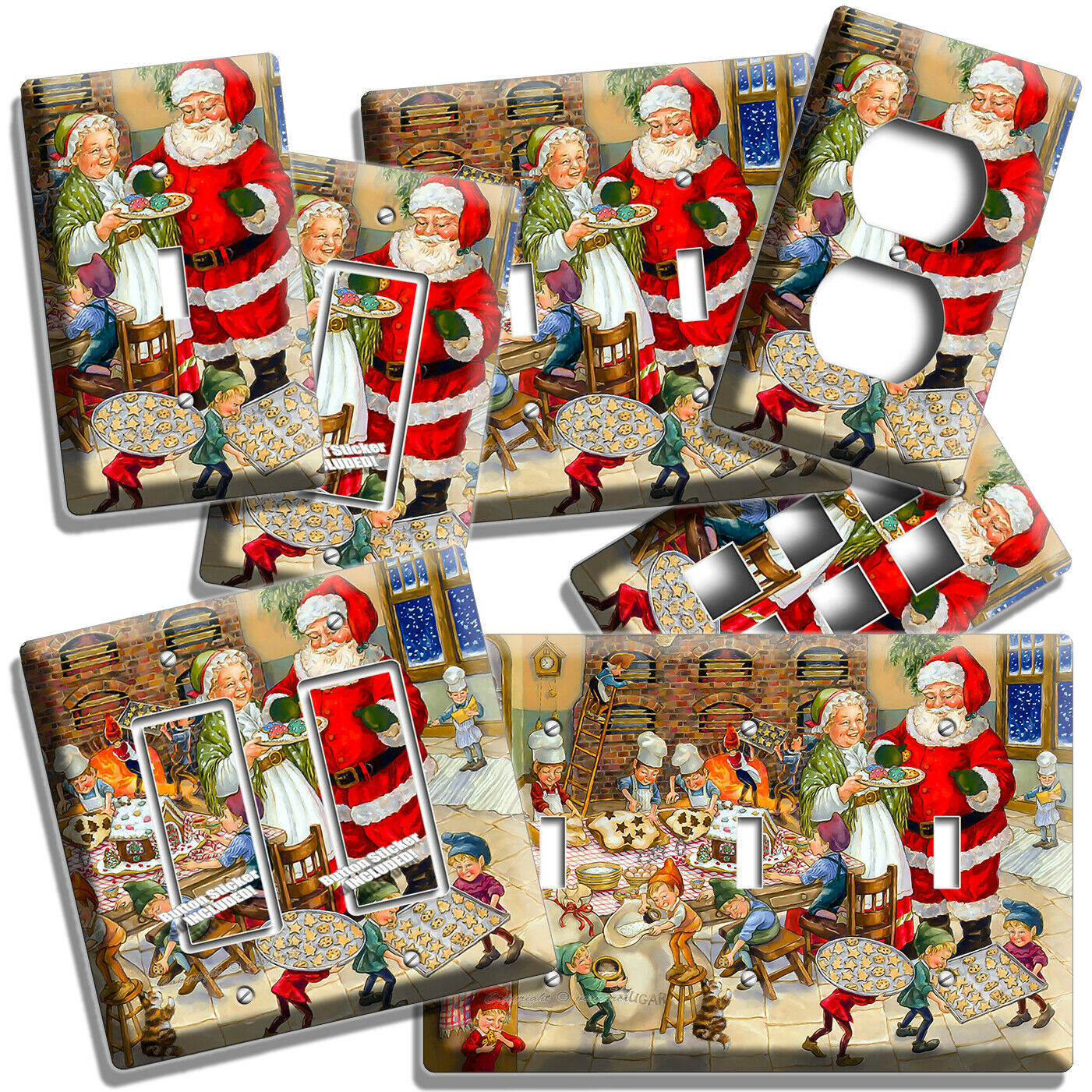 MR MRS SANTA CLAUS LIGHT SWITCH OUTLET WALL PLATES CHRISTMAS KITCHEN DECORATION