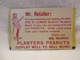 Vintage 1940's/50's Planters Peanut Mr Peanut Cardboard Mr Retailer Card  - $3.55