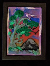 Songbird, Polymer clay art, framed - $35.00