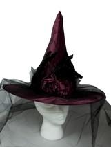 Victorian Satin Purple Veil Bow Flower Halloween Witch Hat - €17,13 EUR