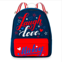 Disney Theme Parks Americana Laugh Love Mickey Mouse Icons Book Bag Backpack NEW - $34.64