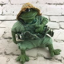 Vintage Russ Berrie The Country Folk Ceramic Frog In Green Dress Straw Hat Decor - $14.84