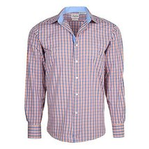 Men's Checkered Plaid Dress Shirt - Orange, X-Large (17-17.5) Neck 34/35 Sleeve