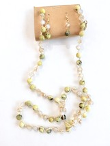 Green Crystal Necklace, Long Beaded Necklace, Lime Necklace Earrings Set image 2