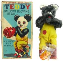 Vintage 1950's Alps Teddy Balloon Blowing Bear w/Insert Balloons & Box Works EX - $299.99