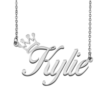Kylie Name Necklace Tag with Crown for Best Friends Birthday Party Gift - $15.99