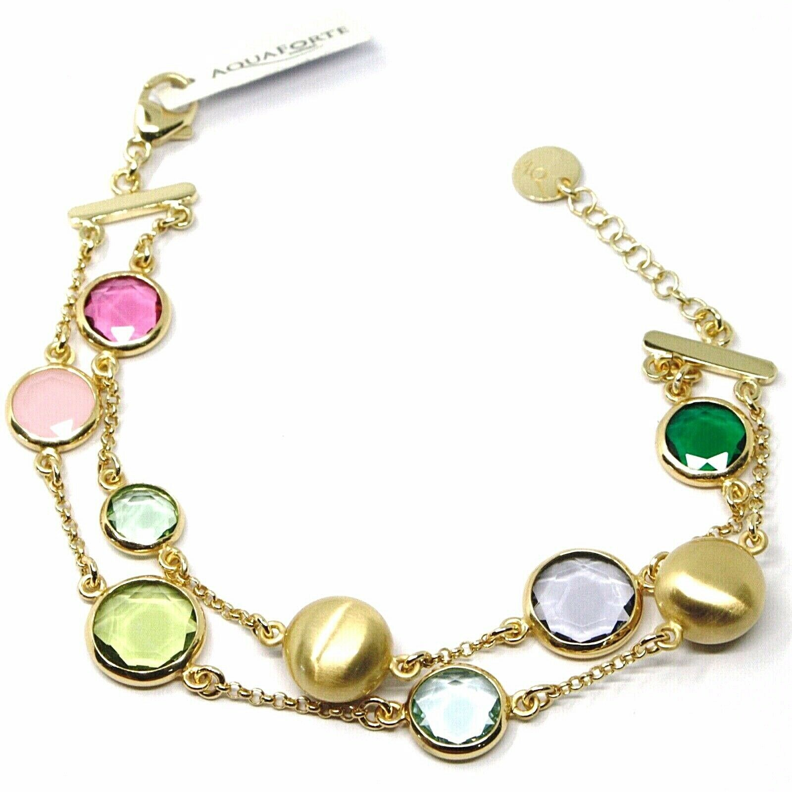 925 STERLING SILVER YELLOW BRACELET SATIN NUGGETS, DOUBLE WIRE, GLASS PASTE