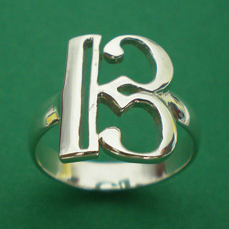 Primary image for Alto Clef C Music Note Silver Charm Ring Band Size Selectable US 3 - 13