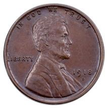 1918-D 1C Lincoln Cents En Au État, Marron Couleur, Bien Frappé, Beau Lu... - $34.43