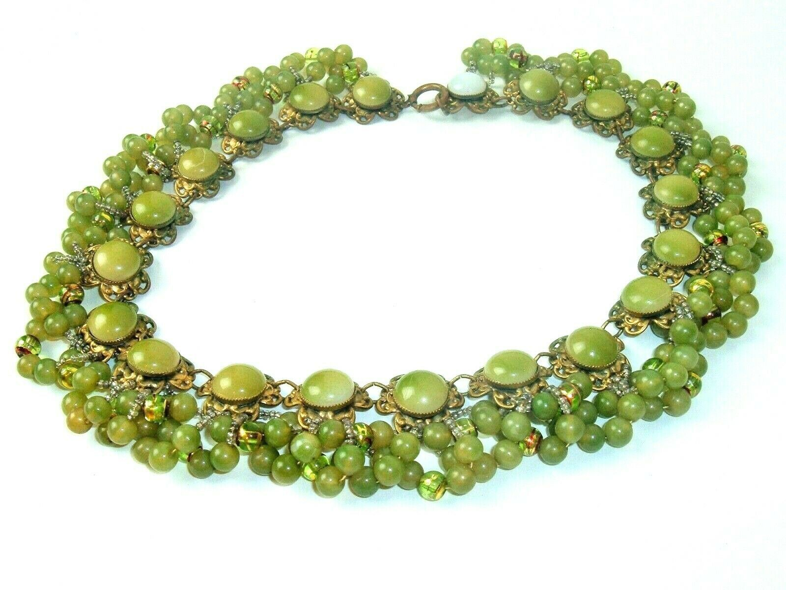 Antique Vtg Necklace Plastic Brass Green beads Gold tone handmade