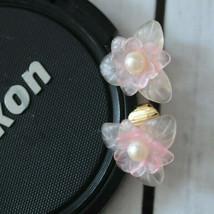 vintage Avon light pink flower earrings floral clip earrings translucent - $9.89