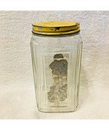 Antique Yellow Metal Tin Top Lid  Glass Square Storage Jar Tea SHP - £22.33 GBP