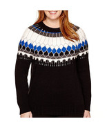 a.n.a Long-Sleeve Fairisle Pullover Sweater Sizes PS, PM, PL, PXL, 0X, 1... - $14.99