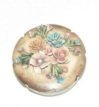 Vintage Visconti Mollica Capodimonte Flower Trinket Box w/ Lid Made in I... - $39.58