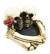 Love Never Dies Eternal Skeleton Couple With Rose Cigaretter Heart Ashtr... - $19.31