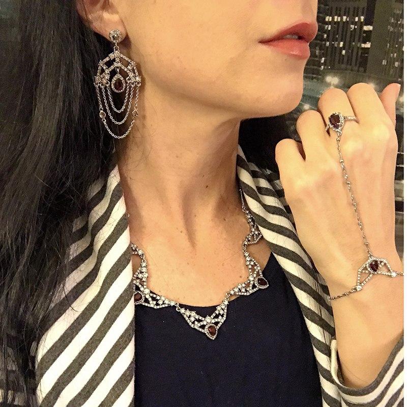 Brilliant Geometric Crystal Charm Bracelet  Alloy Luxury Party Costume Jewelry