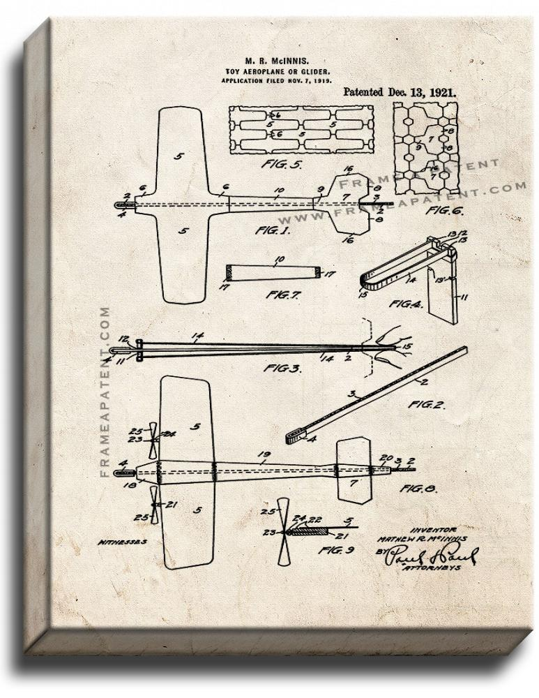 Primary image for Toy Aeroplane or Glider Patent Print Old Look on Canvas