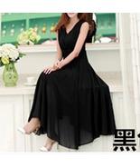 PF253 sexy deep v sleeveless chiffon swing dress  size s-xl, black - $18.80