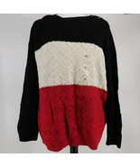 Charter Club XL Sweater Long Sleeves Textured Bold Stripe Pullover Black... - $39.60