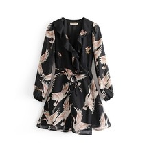 Lantern Sleeves Turn Down Collar Chiffon Fabric Women Mini Dress V Neck ... - $19.98