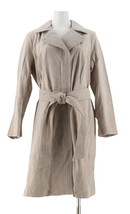 Halston Suede Zip-Front Closure Trench Coat Stitch Stone 20W NEW A343471 - $153.43
