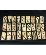 Old Antique Dominoes Ebony Bone Hand Made 27 piece 1865 Note  - $247.49