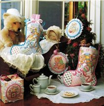 Cross Stitch Baby's First Teddy Bear Christmas Stocking Bib Ornament Pat... - $9.99