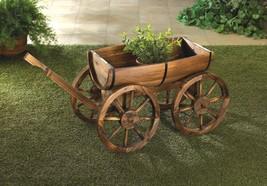Planter Apple Barrel Wagon Wheel Cart Wagon Fir Wood Garden, Patio Decor - $125.68
