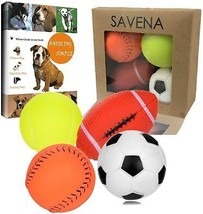 Savena Squeaky Dog Ball Bite Resistant Squeaker No Stuffing Dog Toy Assorted Of - $16.75