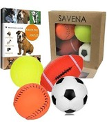 Savena Squeaky Dog Ball Bite Resistant Squeaker No Stuffing Dog Toy Ass... - £12.92 GBP