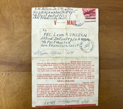 Vtg WWII 1944 Letter Between Brother In Laws KIA World War V-Mail Cover ... - $49.49