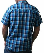 LRG Mens Interstate Short Sleeve Purple or Turquoise Woven Button Up Down Shirt image 5